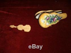 Rare Peint Main Limoges France Signed Floral Violin Case Trinket Box gold