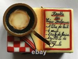 Rare Red Checkered Limoges France Box Cookbook Crepes Signed Cp Mint Condition