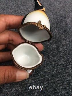Rare Vtg Limoges France Penguin Trinket Box