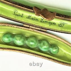 Retired 5 Green Peas in a Pea Pod Limoges Trinket Box Signed NF