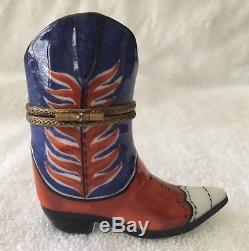 Retired PEINT MAIN LIMOGES BOX Cowboy Boot No Box