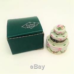 Retired Rochard Limoges Porcelain Trinket Box, Wedding or Birthday Cake with Roses
