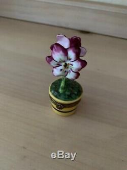 Retired Rochard Pink Amaryllis Flower in Pot Limoges Trinket Box. Beautiful Trin
