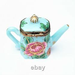 Retired Rochechauart Limoges Trinket Box, Teapot with'Surprise' Tea Bag