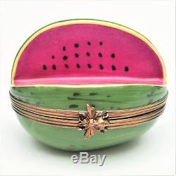Retired Sliced Watermelon Limoges Trinket Box by Rochard