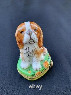 Rochard Hand Painted Limoges Porcelain Trinket Box King Charles Spaniel Dog