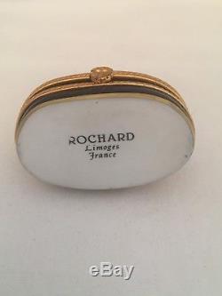 Rochard LIMOGES Golden Buddha Cobalt Blue Oval Trinket Box Miniature France