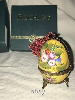 Rochard Limoge France Peint Main Porcelain Egg Double Hinged Perfume Trinket Box