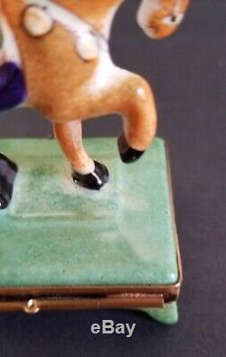 Rochard Limoge France Trinket Box Horse w Saddle & Bridle Hand Painted Marked