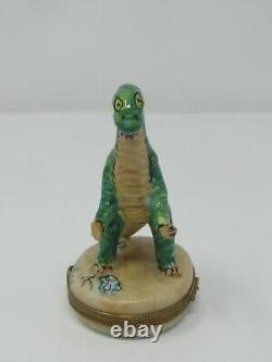 Rochard Limoges Box Long Neck Green Dinosaur Hand Painted