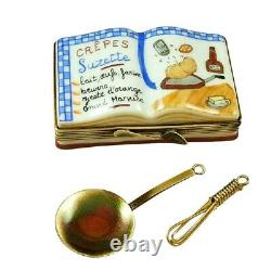 Rochard Limoges COOKBOOK Crepes Suzettes with Whisk and Spoon Trinket Box