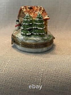 Rochard Limoges Christmas Winter Cottage with Snowman & Christmas Tree Trinket Box