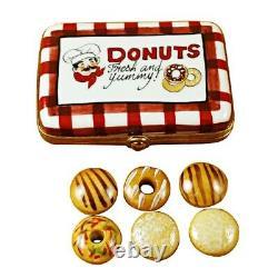 Rochard Limoges Donut Box with 6 Donuts Trinket Box