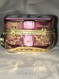Rochard Limoges France Hand Painted Pink Binoculars and Case