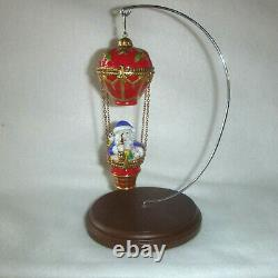 Rochard Limoges France Hand Painted Santa in Hot Air Balloon Two Trinket Boxes