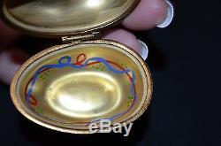 Rochard Limoges France Hinged Peint Main Face Porcelain Trinket Box