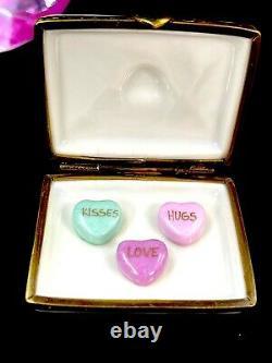 Rochard Limoges France Letter With 3 Candy Hearts Porcelain Keepsake Trinket Box