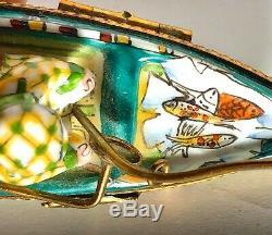 Rochard Limoges France Peint Main Fishing Boat Hinged Trinket Box