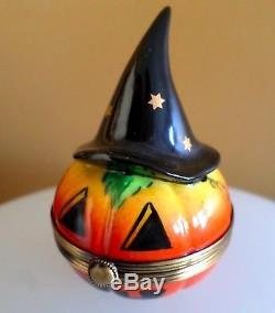 Rochard Limoges France Peint Main Halloween Pumpkin Trinket Box Witch's Hat Pill