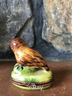 Rochard Limoges France Peint Main Owls Box