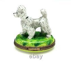 Rochard Limoges France Peint Main Porcelain Grey Poodle Trinket Box
