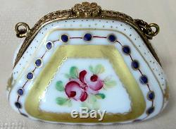 Rochard Limoges Gold Purse Hand Painted France Bnib Porcelain Hinged F/s