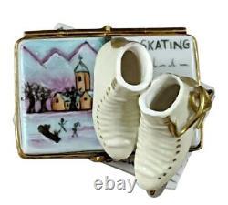 Rochard Limoges Ice Skates on Book Trinket Box