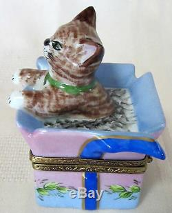 Rochard Limoges Kitten In Box Hand Painted France Bnib Porcelain Hinged F/s
