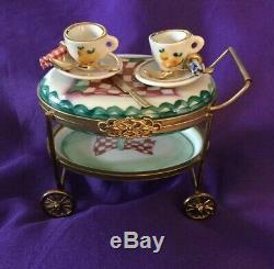 Rochard Limoges Peint Main Porcelain Handpainted Trinket Box Tea Cart France