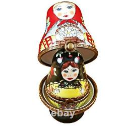 Rochard Limoges Russian Dolls Nesting with Red Scarf Trinket Box
