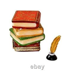 Rochard Limoges Shakespeare Stack of Books with Inkwell Trinket Box