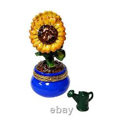 Rochard Limoges Sunflowers in a Pot Trinket Box