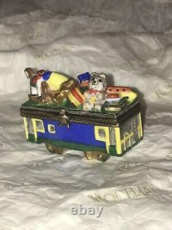 Rochard Limoges Trinket Box Peint Main 3 piece Christmas Train with Santa & toys