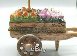 Rochard Pink Flower Cart Limoges Box
