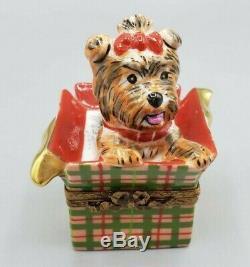 Rochard Yorkie Christmas Gift Limoges Box (Retired)