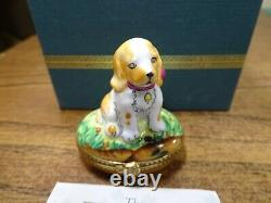 Rochard limoges Trinket box Dog/Spaniel