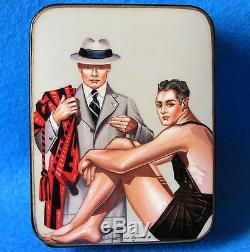 Russian LACQUER Box Hand Painted GAY INTEREST Sportsman Coach J. C. Leyendecker