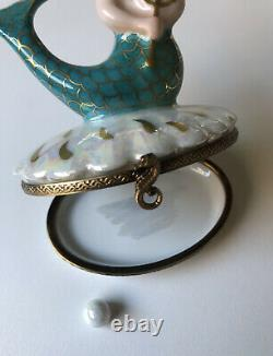 SALE! Mermaid (Clam Shell) Limoges Trinket Box with Seahorse Clasp & Pearl Inside