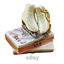 SKATES ON BOOK NEW Limoges Boxes Porcelain Trinket Snuff Box France