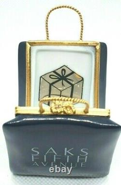 Saks Fifth Avenue Bag with Gold Card Limoges Box Retired