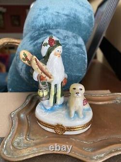 Santa With His Dog Limoges Trinket Box