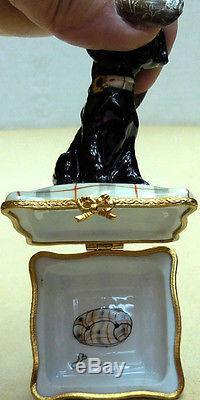Scottie Terrier, Black On Plaid Pillow, Authentic Limoges-france Item #35-211