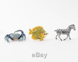 Set of 10 Jeweled Enamel Animal Trinket Boxes Bird Fish Zebra Frog Egg Crab Duck