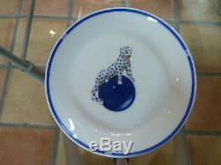 Set of 3 CARTIER Limoges'Panther on Blue Ball' Porcelain Trinket Dish Trays