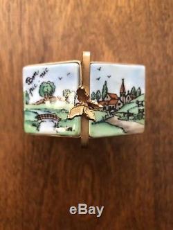 Signed LIMOGES France Peint Main RARE PICNIC BASKET BOXHinged Trinket Box