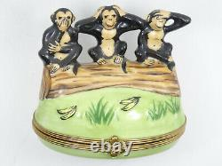 Signed Limoges 3 Wise Monkey See, Hear Speak No Evil Trinket Box