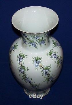 Stunning Rare Limoges France Peint Main St Pierre Hand Painted Vase Grapes Gold