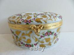 Superb Vintage Le Tallec Paris Limoges Gold Handpainted Trinket Jewelry Box (#2)