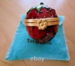TIFFANY & CO Limoges France Peint Mein STRAWBERRY Trinket / Ring Box withBag