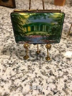 TWO. EASEL & Paints. Trinket Boxes. EXC. Rochard & Limoges